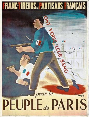 "ND (WWII) * Propagande de Guerre Reproduction ""Resistenza Francese - Partigiani Francesi Hanno Versato Il Loro Sangue"" dans Passepartout"