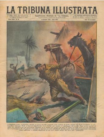 """1938 * La Tribuna Illustrata (N°49) – """"Incendio in Libia - Contrabbando Treno Colonia-Bruxelles"""" Magazine Original"""