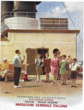 """1929 * Publicité Original """"Navigazione Generale Italiana - Una Lezione di Scherma"""" dans Passepartout"""