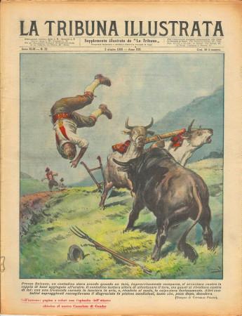 """1935 * Magazine Historique Original """"La Tribuna Illustrata (N°22) - Toro Attacca Coppia di Buoi"""""""