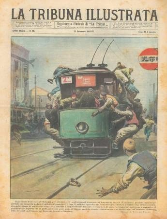 """1931 * Magazine Historique Original """"La Tribuna Illustrata (N°37) - Sciopero Personale Tramviario"""""""