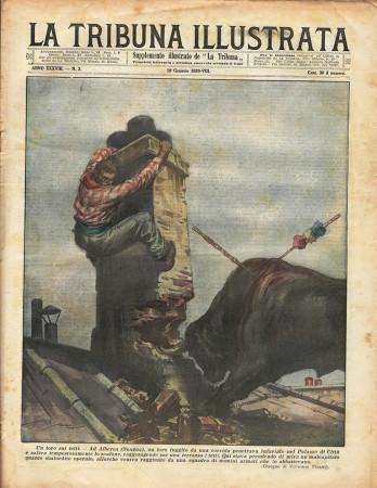 """1930 * Magazine Historique Original """"La Tribuna Illustrata (N°3) -Un Toro Sui Tetti"""""""