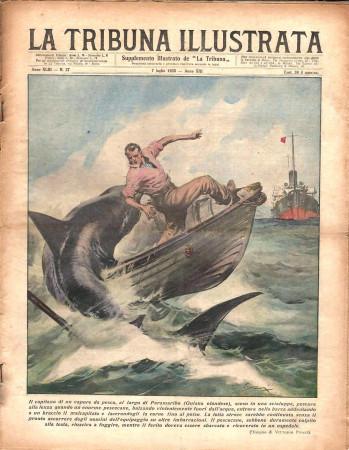 """1935 * Magazine Historique Original """"La Tribuna Illustrata (N°27) - Pescecane Attacca Capitano nella Guiana Olandese"""""""