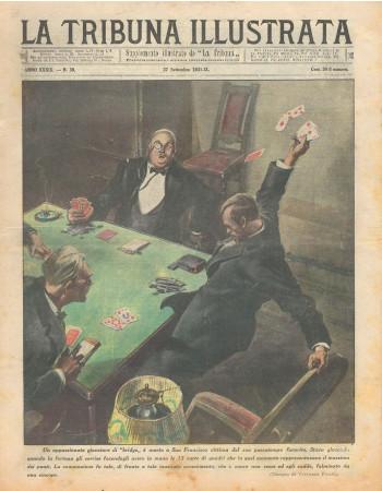 """1931 * Magazine Historique Original """"La Tribuna Illustrata (N°39) - Giocatore di Bridge Muore Per Infarto"""""""