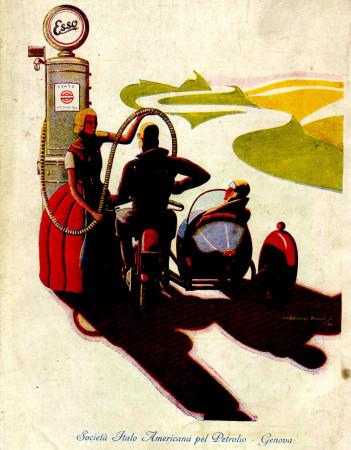 """1930 * Publicité Original """"Esso - Rifornimento - WILLIAM ROSSI"""" dans Passepartout"""
