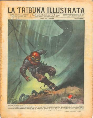 """1935 * Magazine Historique Original """"La Tribuna Illustrata (N°18) - Incidente Palombaro a Manchester"""""""