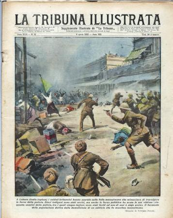 """1935 * Magazine Historique Original """"La Tribuna Illustrata (N°31) - Soldati Britannici Sparano Su Folla"""""""