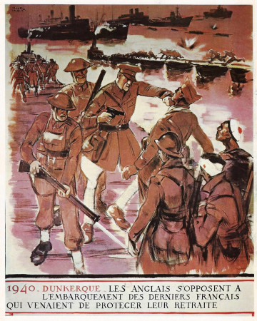 "ND (WWII) * Propagande de Guerre Reproduction ""Governo Di Vichy - 1940 Dunkerque"" dans Passepartout"