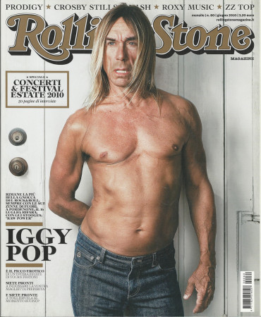 """2010 (N80) * Couverture de Magazine Rolling Stone Originale """"Iggy Pop"""" dans Passepartout"""