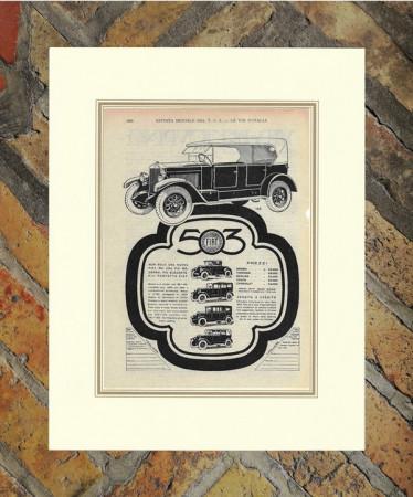 """1926 * Publicité Original """"Fiat - Vettura 503"""" dans Passepartout"""