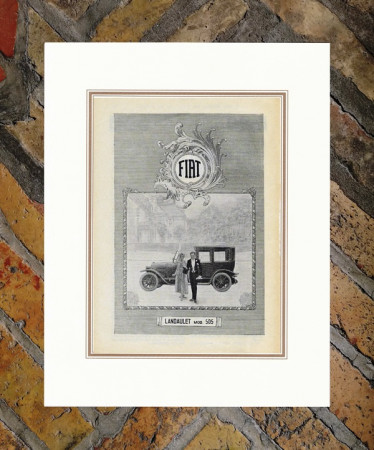 """1921 * Publicité Original """"Fiat - Landaulet Mod 505"""" dans Passepartout"""