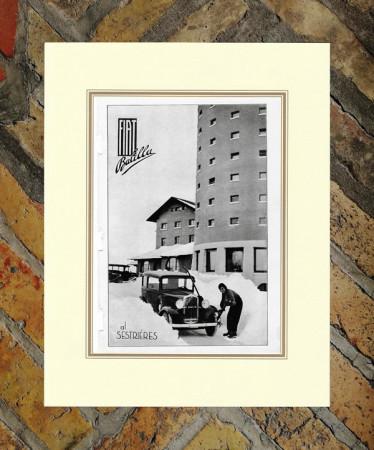 """1933 * Publicité Original """"Fiat - Balilla al Sestriere"""" dans Passepartout"""