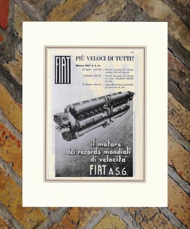 """1933 * Publicité Original """"Fiat - Il Motore Dei Records"""" dans Passepartout"""
