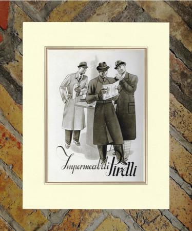 "1942 * Publicité Original ""Pirelli - Impermeabili - Gentlemen"" dans Passepartout"