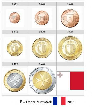 """2016 * Série 8 Pièces Euro MALTE """"Marque Française""""  BU"""