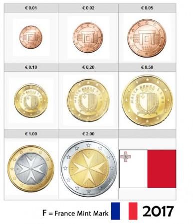 """2017 * Série 8 Pièces Euro MALTE """"Marque Française"""" BU"""