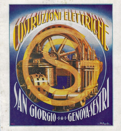 """1932 * Publicité Original """"Costruzioni Elettriche San Giorgio Genova Sestri - BIANCHI"""" dans Passepartout"""