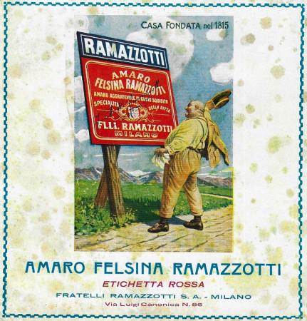 """1929 * Publicité Original """"Amaro Felsina Ramazzotti - Paesaggio Montano"""" dans Passepartout"""