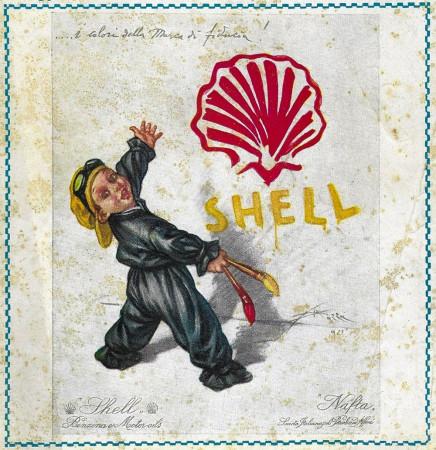 """1929 * Publicité Original """"Shell - I Colori Della Marca di Fiducia - ALDO MAZZA"""" dans Passepartout"""