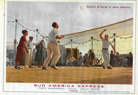 "1932 * Publicité Original ""Italia Flotte Riunite - Giuochi di Bordo in Pieno Atlantico - STUDIO TESLA"" dans Passepartout"