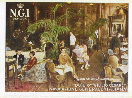 "1931 * Publicité Original ""Navigazione Generale Italiana - Ristorazione - Duilio - STUDIO TESLA"" dans Passepartout"