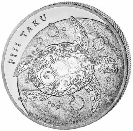 2010 * FIDJI 2 Dollars en argent 1 OZ tortue TAKU