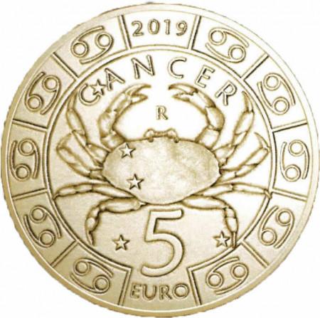 "2019 * 5 Euro Bronzital SAINT MARIN ""Serie Zodiaque - Cancer"" UNC"