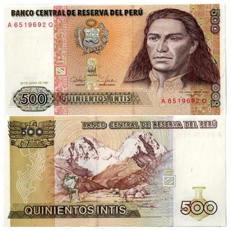 "1987 * Billet Pérou 500 Intis ""Tupac Amaru II"" (p134b) NEUF"