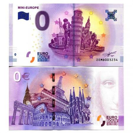 """2017-1 * Billet Souvenir Belgique Union Européenne 0 Euro """"Mini-Europe"""" NEUF"""