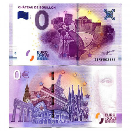 """2017-1 * Billet Souvenir Belgique Union Européenne 0 Euro """"Château De Bouillon"""" NEUF"""