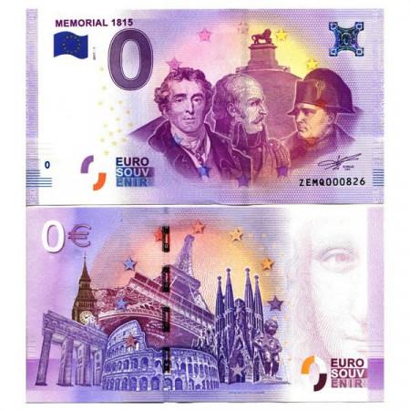 """2017-1 * Billet Souvenir Belgique Union Européenne 0 Euro """"Memorial 1815"""" NEUF"""