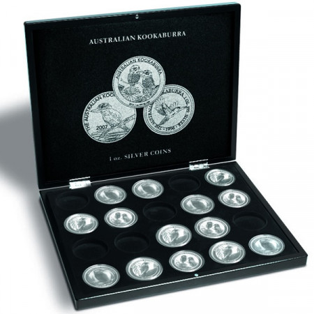 Coffret pour 20 monnaies Kookaburra argent en capsules, noir * LEUCHTTURM