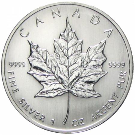 """1993 * 5 Dollars Argent 1 OZ Canada """"Feuille d'Érable - Maple Leaf"""" BU"""
