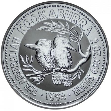1994 * 2 Dollars en argent 2 OZ Kookaburra Australie