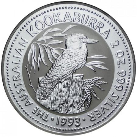 1993 * 2 Dollars en argent 2 OZ Kookaburra Australie