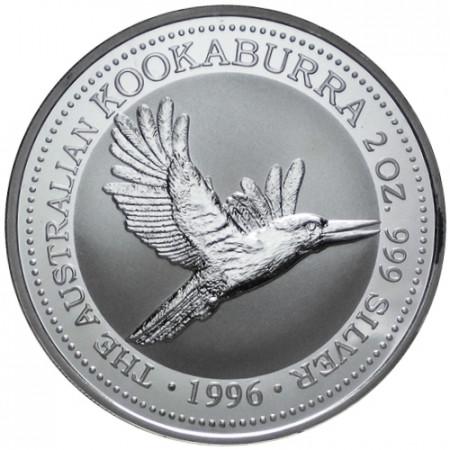 1996 * 2 Dollars en argent 2 OZ Kookaburra Australie