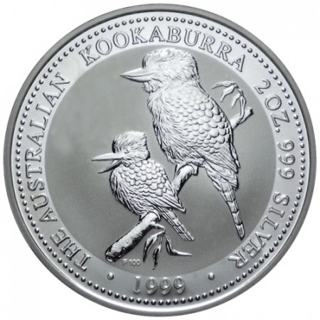 1999 * 2 Dollars en argent 2 OZ Kookaburra Australie