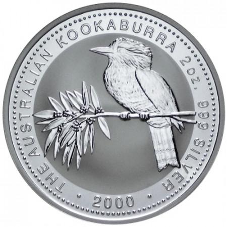 2000 * 2 Dollars en argent 2 OZ Kookaburra Australie