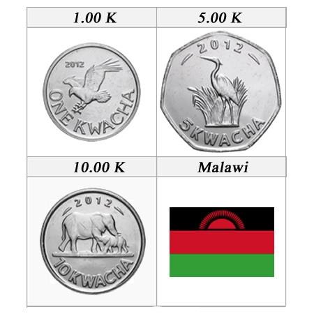 2012 * set kwacha 3 monnaies Malawi