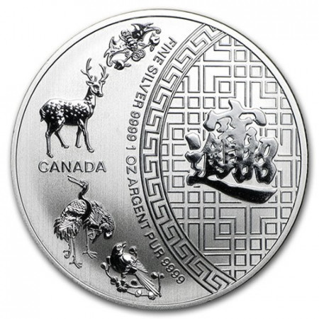 """2015 * 5 Dollars Argent 1 OZ Canada """"Five Blessings"""" BU"""