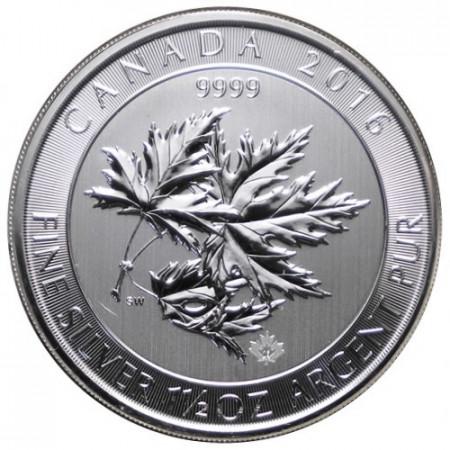 """2016 * 8 Dollars Argent 1,5 OZ Canada """"Multi Maple Leaf"""" BU"""