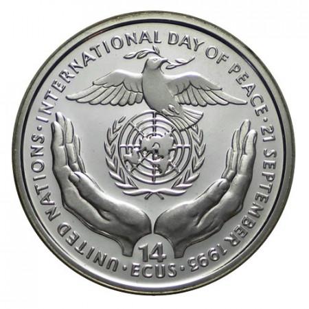 """1993 * 14 Ecus Argent Bosnie-Herzégovine """"Journée Internationale de la Paix"""" (KM 82) BE"""