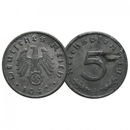 """1942 A * 5 Reichspfennig ALLEMAGNE """"Troisième Reich"""" (KM 100) TTB"""