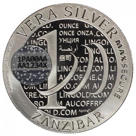 """2015 * 1 Vera Argent 1 OZ Tanzanie - Zanzibar """"QR Code"""" BU"""