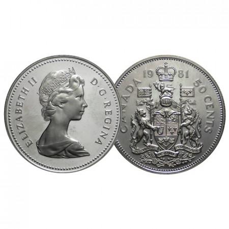 "1981 * 50 Centimes Half 1/2 Dollar Argent Canada ""Armoiries"" (KM 73.5) BE"