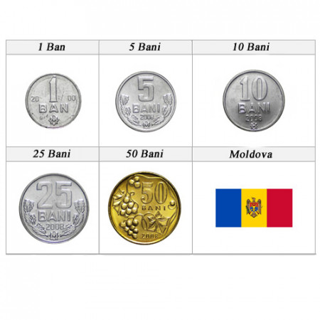 """Ans Divers * Série 5 Pièces Moldavie """"Bani"""" UNC"""