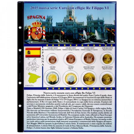 "Feuille + pochette monnaies euro ESPAGNE ""Roi Philippe VI"" 2015 * ABAFIL"
