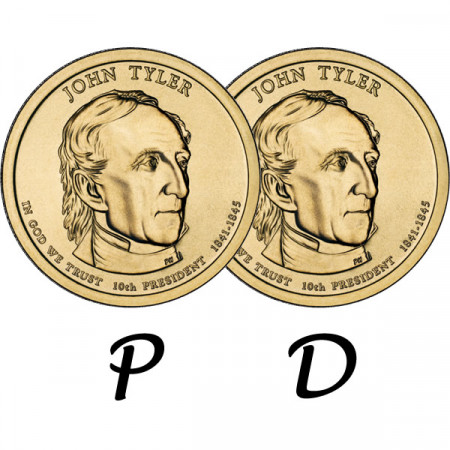 "2009 * 2 x 1 Dollar États-Unis ""John Tyler - 10th"" P+D"
