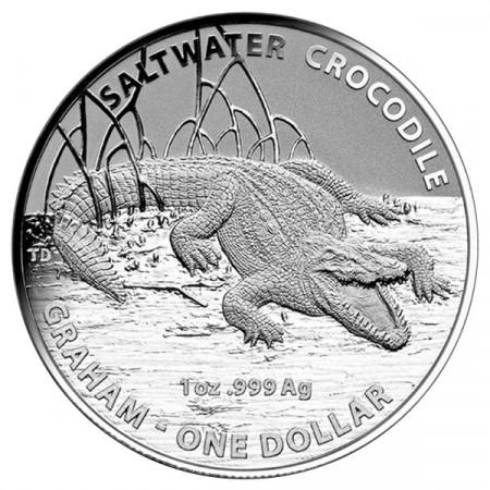 2014 * Dollar en argent 1 OZ Australie Crocodilie Graham