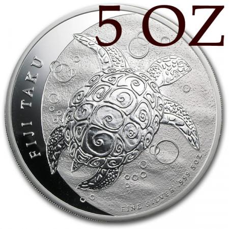 2013 * Fidji 10 Dollars 5 OZ en argent tortue TAKU